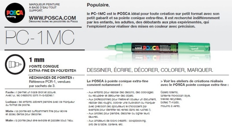 Description du marqueur Posca pc-1mc